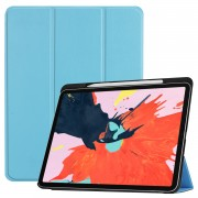 For iPad Pro 12.9-inch (2018) PU Leather Tri-fold Stand Tablet Flip Casing [with Pen Slot] - Baby Blue