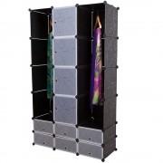 Гардероб с 14 отделения [neu.haus]® 180 x 110 cm Черен, с място за закачалки