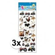 Merkloos 3x Poezie album stickers boerderijdieren
