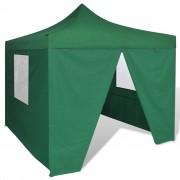 vidaXL Сгъваема шатра 3 х 3 м, с 4 стени, зелена