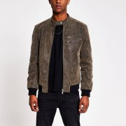 River Island Mens Dark Brown faux suede racer jacket (XXS)