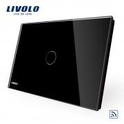 Intrerupator simplu wireless cu touch Livolo din sticla - standard italian, negru