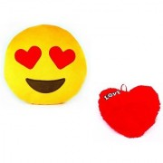 De Ultimate Combo of Love Heart Cusion And Luv Heart In Eyes Ultra Soft Plush Emoji Pillow For Sofa/couch/bed Decor