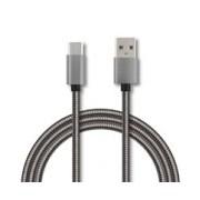 CABLE TIPO C FORRO METALICO GHIA 1.0 MTS USB 2.1 CARGADOR Y TRANSFERENCIA DE DATOS GRIS