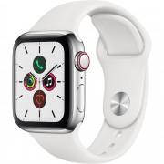 Smartwatch Apple Watch Series 5 GPS + Cellular, 40mm, 4G, Carcasa Stainless Steel, Bratara Sport White - S/M & M/L