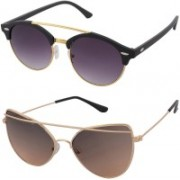 Aventus Round, Cat-eye Sunglasses(Black, Brown)