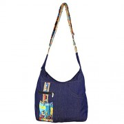 Printed Denim College Bag, with Zipper Closing with Pocket Inside, adjustable starp
