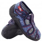 Sandale baietel cu catarama, din material textil, albastru inchis