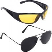 Reyda Wrap-around, Aviator Sunglasses(Black, Yellow)