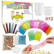 Slime Kit - ESSENSON Slime Supplies Make Your Own Clear Crystal Slime Floam Slime Glitter Slime, Slime Making Kit for Girls Boys Kids, Includes Clear Crystal Slime, Slime Containers, Foam Balls