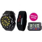 Combo of Jack Klein Stylish Silicone Strap Analog And Digital Wrist Watches MVRK01LEDBLKCarWatch