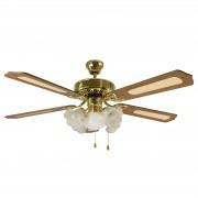FIORITO ceiling fan, 5-bulb, brass