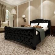 vidaXL Lyxig säng i svart konstläder 140 x 200 cm med memory foam madrass