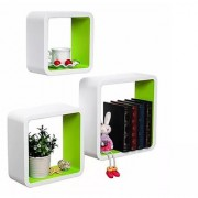 Onlineshoppee MDF Artesania Cube Floating Wall Shelves Set of 3 Green