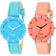 Kds CutGlass Orange and Sky Blue pack of 2 Leather Women Watch