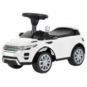 Masinuta Range Rover, cu sunete si lumini, volan si scaun reglabil, pentru copii, capacitate 25kg, culoare alb