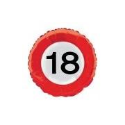 Merkloos 18 jaar thema verkeersbord folie ballon