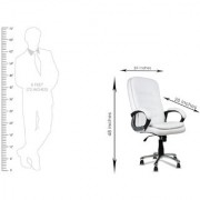 DZYN Furnitures Comforto in White Leatherette Office Executive Chair (White Set of 2)