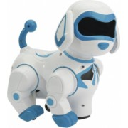 Robotul cainele interactiv cu intelingenta artificiala alb si albastru care danseaza se misca latra si reproduce diferite sunete
