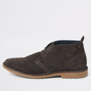 River Island Mens Grey suede wide fit desert boots (12)