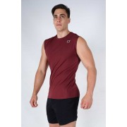 Twotags Damage Muscle Top T Shirt Maroon TMTP021