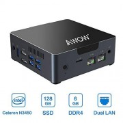 AWOW Mini PC 6GB DDR4 computadora de sobremesa Windows 10 Intel Celeron N3450 128 GB SSD/Dual LAN/2.4G+5G Dual Band WiFi/4K HD/Bluetooth/HDMI