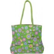 LivEZY Multi Colored Floral Print   Women's Shoulder Bag   Grocery Bag   Shopping Bag   Tote Bag   Sea Green Base (Jute & Cotton fabric) L:14 x H:12 x W:4.5 inch Waterproof Shoulder Bag(Green, Multicolor, 12 L)