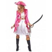 Vegaoo Piratinnenkostüm für Damen in rosa Barockstil