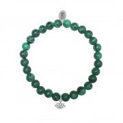 CO88 Armband Lotus Energie en Balance staal/malachiet/groen, rek/all-size 8CB-17043
