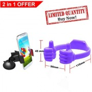 Buy Car Mobile Holder with 360 degree rotation And Get Free OK Stand For SmartPhones And Tablets - Color May Vary