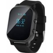 Ceas smartwatch pentru copii si adulti Wonlex GW700/T58 cu functie telefon, buton SOS, WiFi, negru