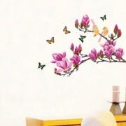 EJA Art magnolia flower and butterflies Wall Sticker (Material - PVC) (Pec - 1) With Free Set of 12 pec butterflies sticker