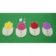 LUOEM 4 piezas feliz Pascua decoraciones de fiesta Bolsas de cubertería, tenedor y cuchillo de Pascua decoración de vajilla de Pascua de bolsillo