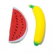 2 Pcs Slow Rising Squishy Banana and Watermelon Toys Stress Reliever BY DINGJIN