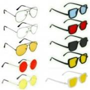 INSH Rectangular, Round, Aviator Sunglasses(Red, Black, Yellow, Clear, Blue)