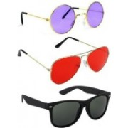 SO SHADES OF STYLE Wayfarer, Round, Aviator Sunglasses(Red, Blue, Black)