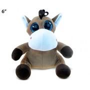 Puzzled Horse Big Eyes Soft Stuffed Plush Cuddly Animal Toy - Animals / Wild Farm Theme 6 Inch (5235)