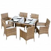 Set de gradina masa+6x scaune ratan miere crem