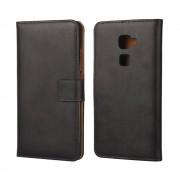 Sonstige Marke Huawei Mate S Echtleder Tasche Flip Cover Etui - Schwarz