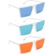 NuVew Retro Square, Wayfarer Sunglasses(Blue, Green, Orange)