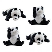 12 Mini Panda Bear Figures - 2 Poses Sleepy & Waving Miniature Figurine Pandas Little Wild Life Safari Toy Animal Cake Toppers Black Bear