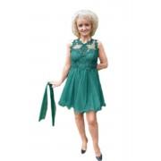 Rochie de nunta cu croi evazat, cu tul, nuanta de verde inchis (Marime: 38, Culoare: VERDE INCHIS)