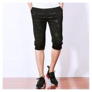 Hombres Camuflaje Trotar Capri Baggy Harem Pantalones (Negro)