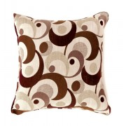 """Furniture of america PL6002BR Set of 2 swoosh collection brown colored fabric 18"""" x 18"""" throw pillows"""