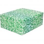 Shoppartners Rollen Inpakpapier/cadeaupapier groen bloemenprint 200 x 70 cm rol