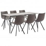 vidaXL Set mobilier bucătărie, 7 piese, maro, piele ecologică