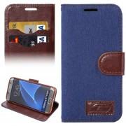 Para Samsung Galaxy S7 EDGE / G935 Jeans Horizontal Flip Funda De Cuero Con Soporte Y Ranuras De Tarjeta (azul Oscuro)