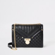 River Island Womens Black quilted cross body bag (One Size)