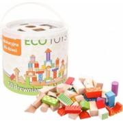 Set cuburi constructii pentru copii din lemn 50 piese multicolore