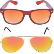Aligatorr Combo Of 2 Wayfarer Aviator Unisex Sunglasses kc bngylCRLK